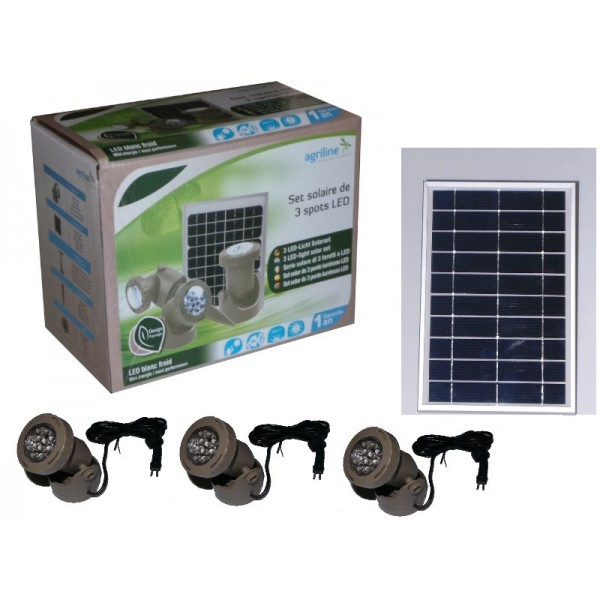Set solaire 3 spot led agriline eclairages for Eclairage jardin led electrique