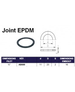JOINT EPDM POUR EMBOUT FILET INT 3/4""