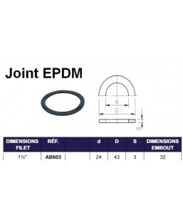 "JOINT EPDM POUR EMBOUT FILET INT 1""1/2"